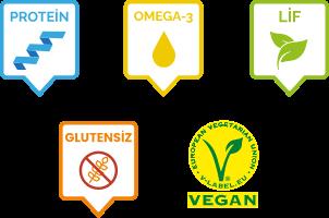 Protein, omega-3, lif, glutensiz, vegan